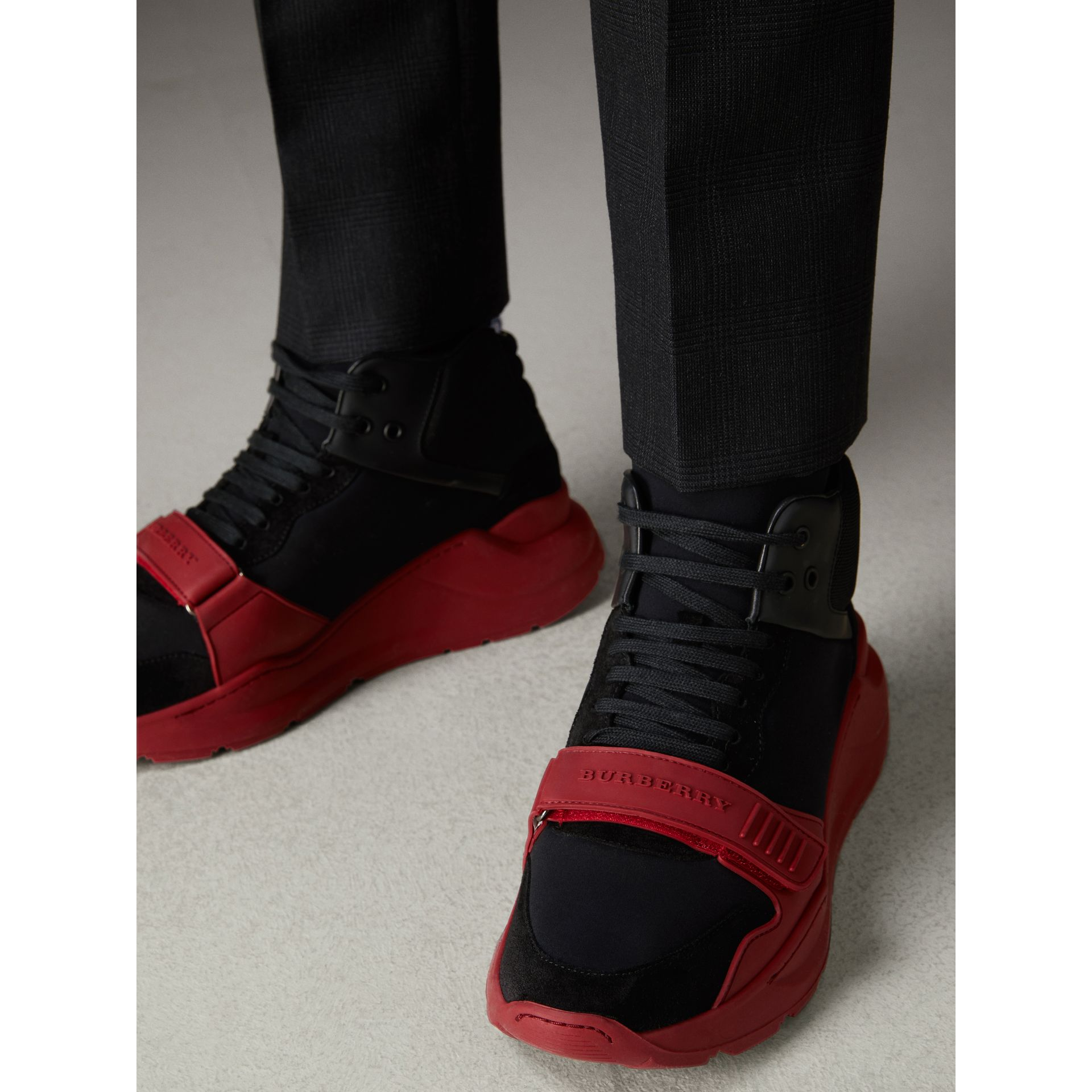 Suede Trim Neoprene High-top Sneakers in Black/military Red | Burberry - gallery image 2