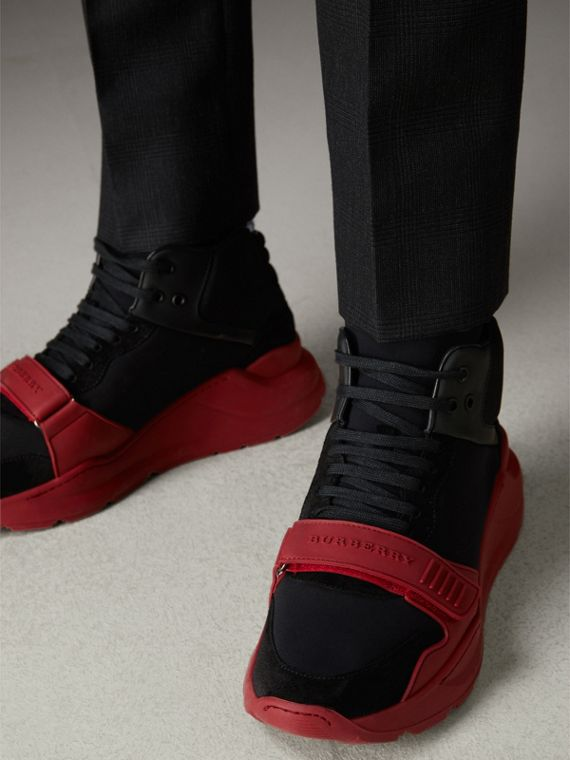 Suede Trim Neoprene High-top Sneakers in Black/military Red | Burberry - cell image 2
