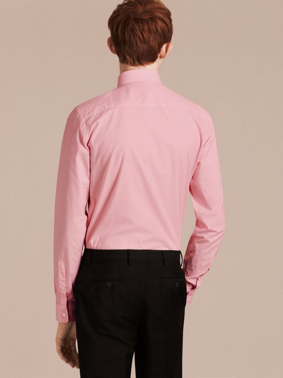 Slim Fit Gingham Cotton Poplin Shirt City Pink - cell image 2