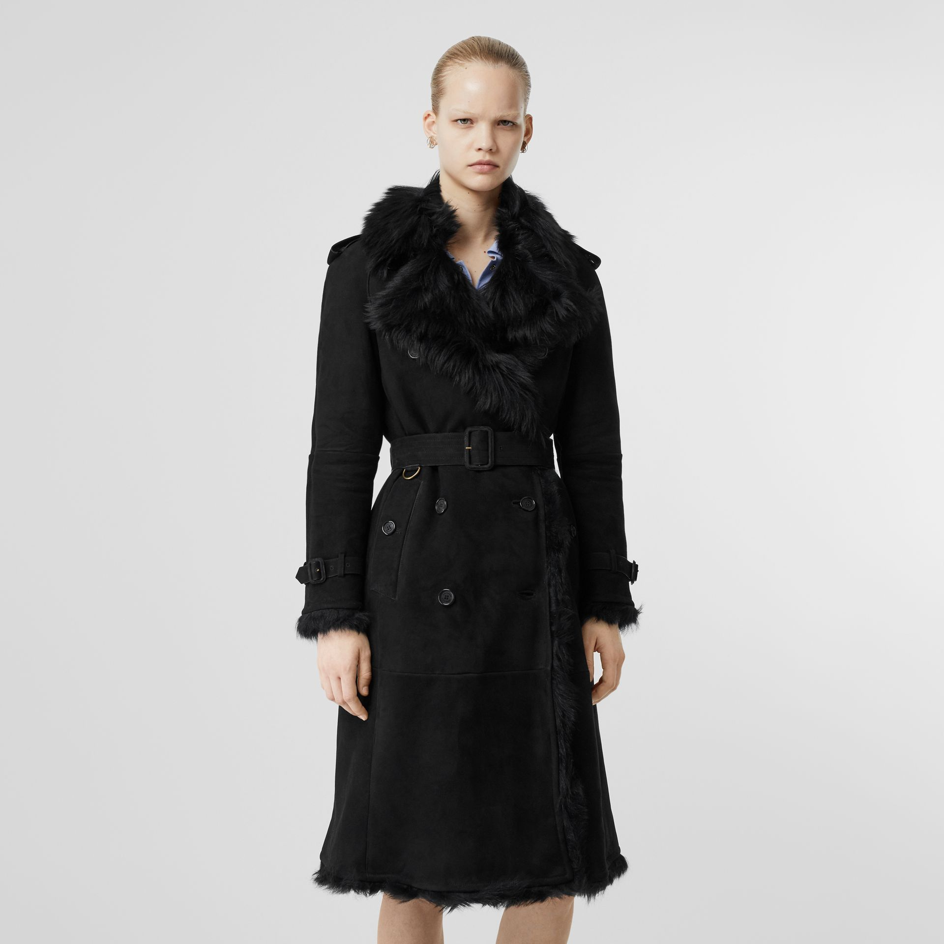 Shearling Trench Coat in Black - Women | Burberry United Kingdom - gallery image 6