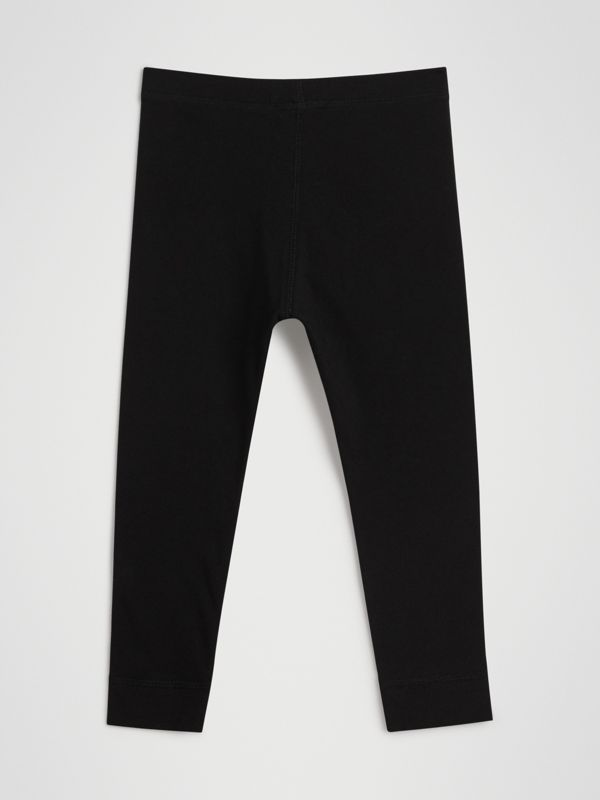Logo Detail Stretch Cotton Leggings in Black | Burberry - cell image 3