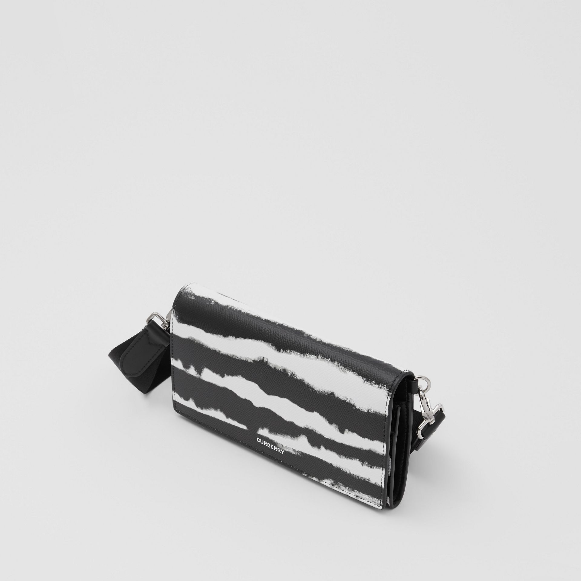 Watercolour Print Leather Wallet with Detachable Strap in Black/white | Burberry - gallery image 4