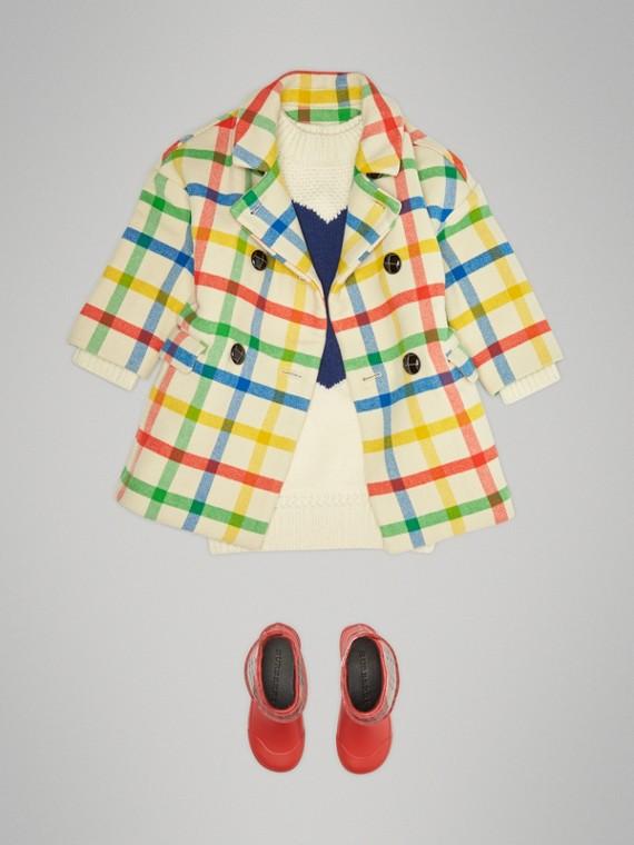 Manteau ajusté en sergé de laine à motif check (Jaune Antique)