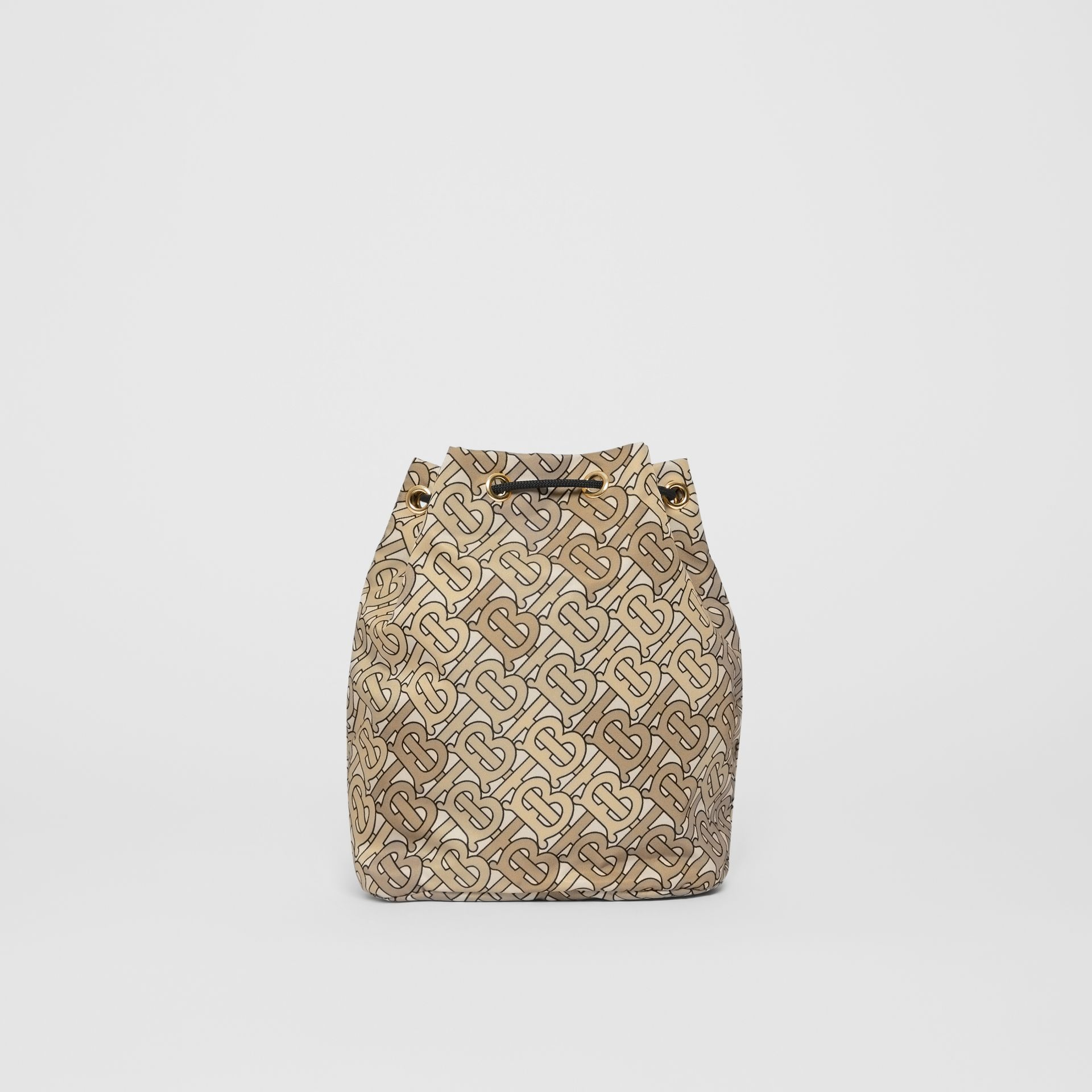Monogram Print Nylon Drawcord Pouch in Beige - Women | Burberry - gallery image 7