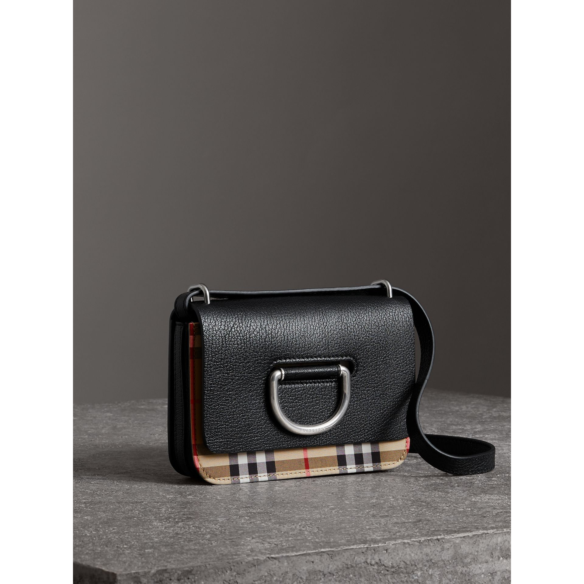 The Mini Vintage Check and Leather D-ring Bag in Black - Women | Burberry - gallery image 4