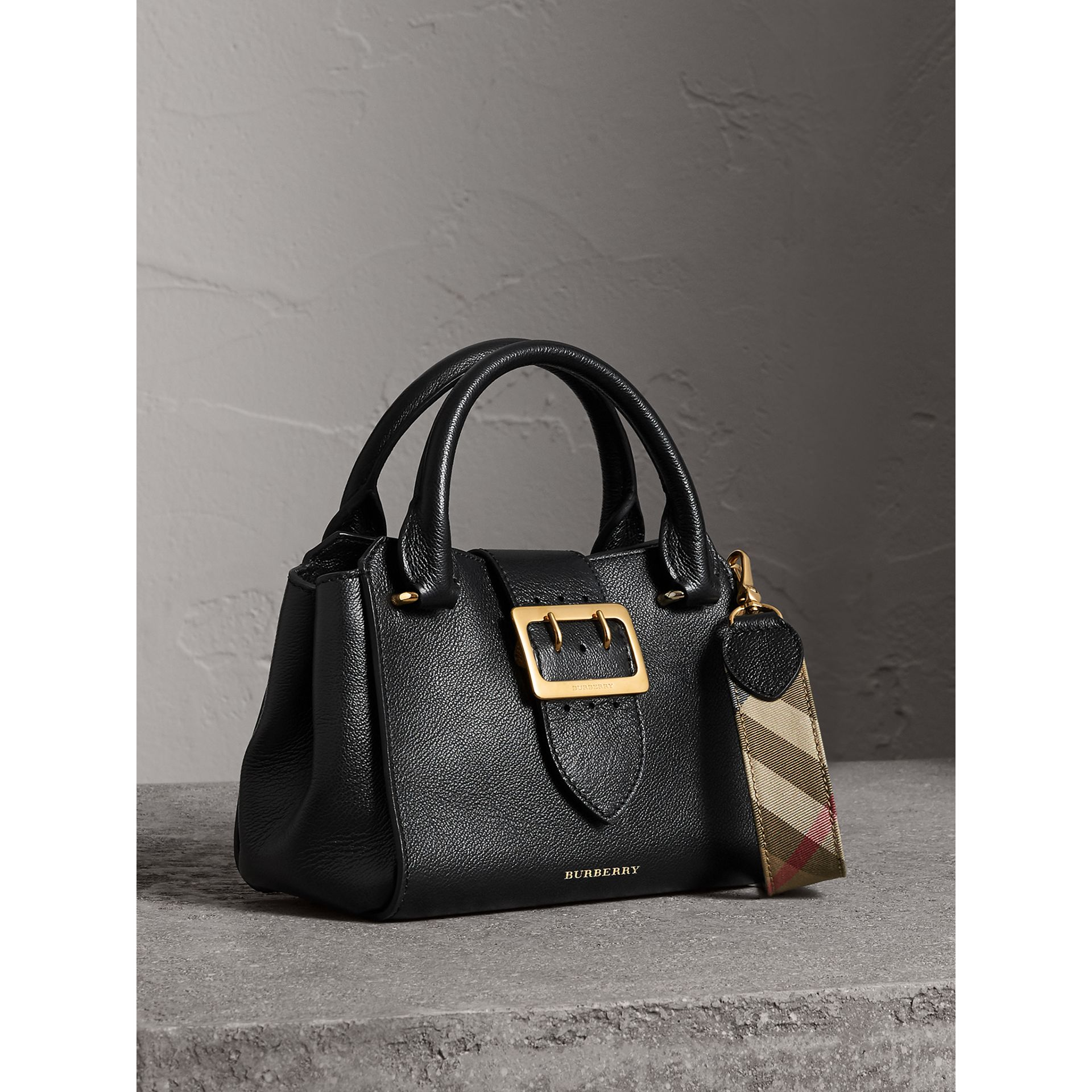 The Small Buckle Tote in Grainy Leather in Black - Women | Burberry United Kingdom - gallery image 6