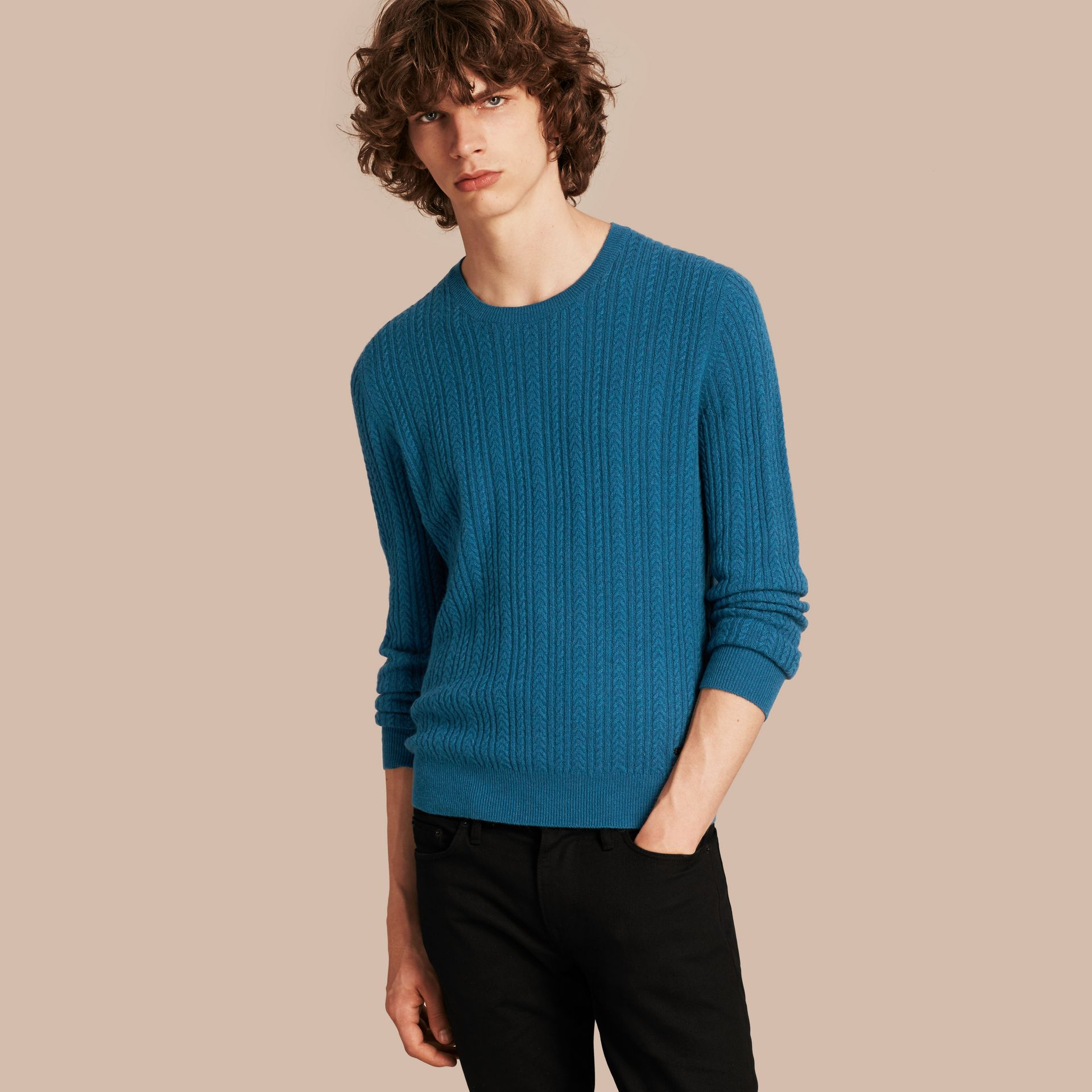Cyan blue Aran Knit Cashmere Sweater Cyan Blue - gallery image 1