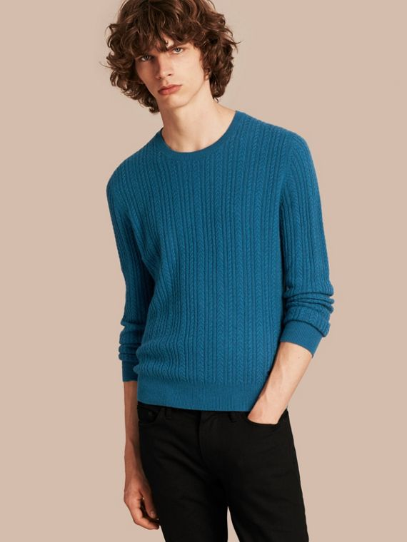Aran Knit Cashmere Sweater Cyan Blue