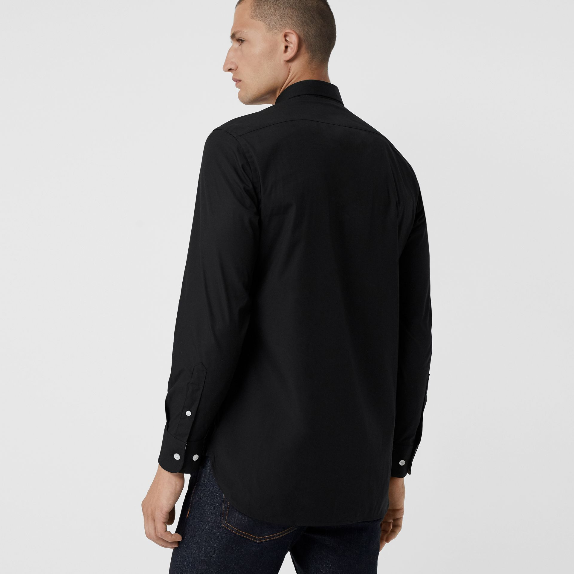 Contrast Button Stretch Cotton Shirt in Black - Men | Burberry United Kingdom - gallery image 2
