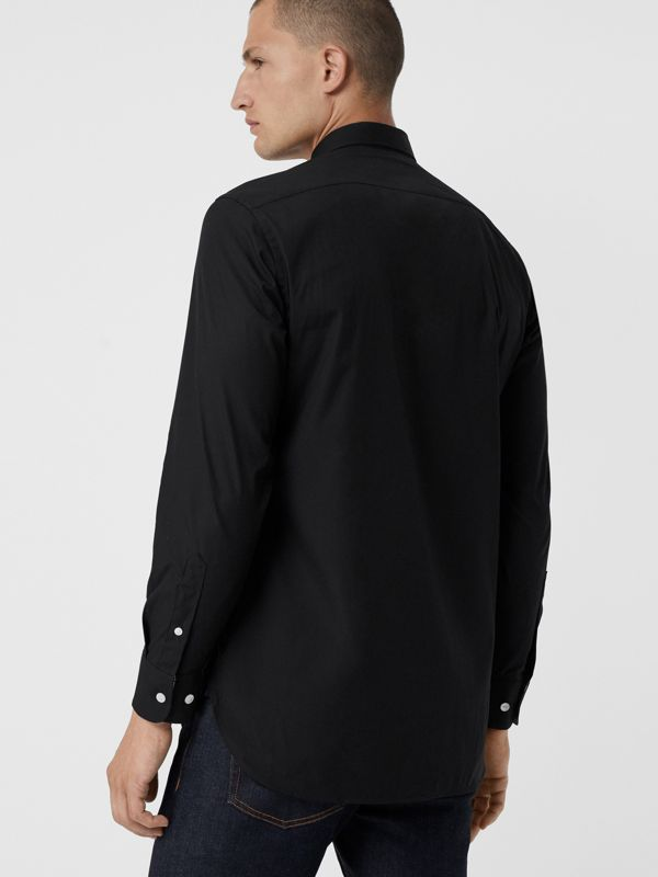 Contrast Button Stretch Cotton Shirt in Black - Men | Burberry - cell image 2