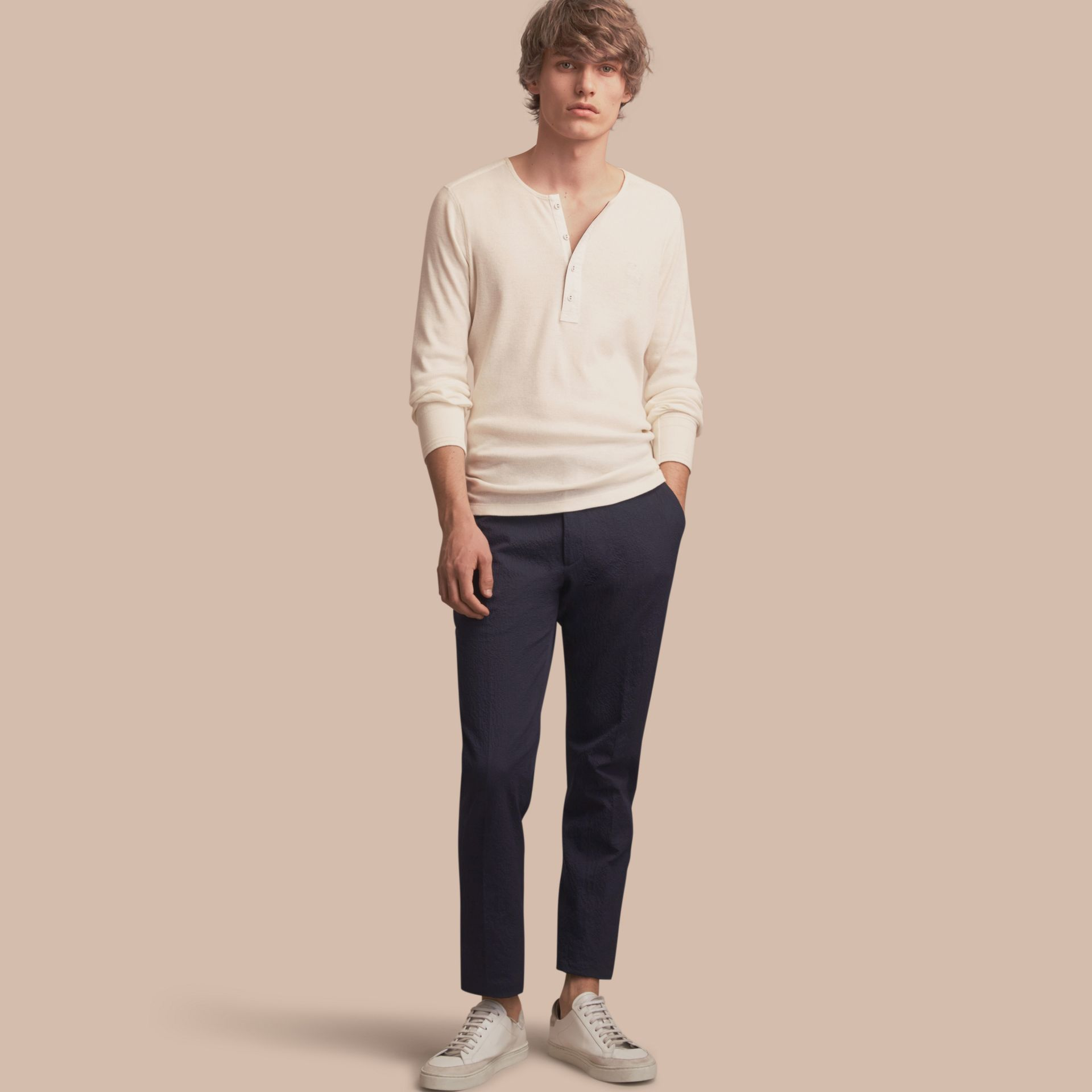 Slim Fit Textured Stretch Cotton Trousers - Men | Burberry - gallery image 1