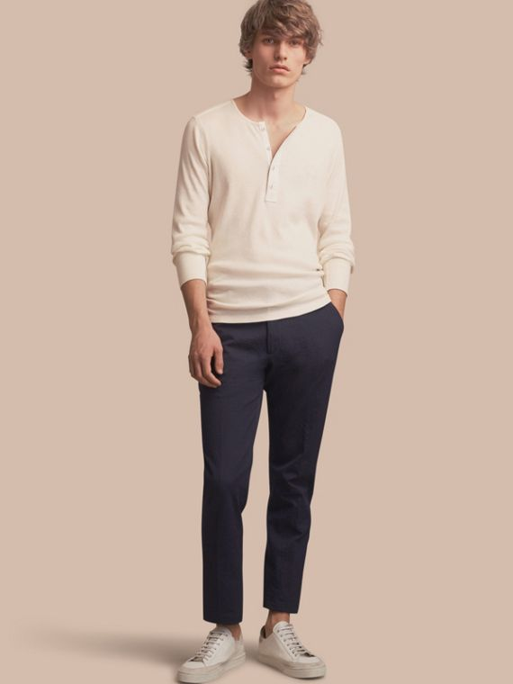 Slim Fit Textured Stretch Cotton Trousers - Men | Burberry