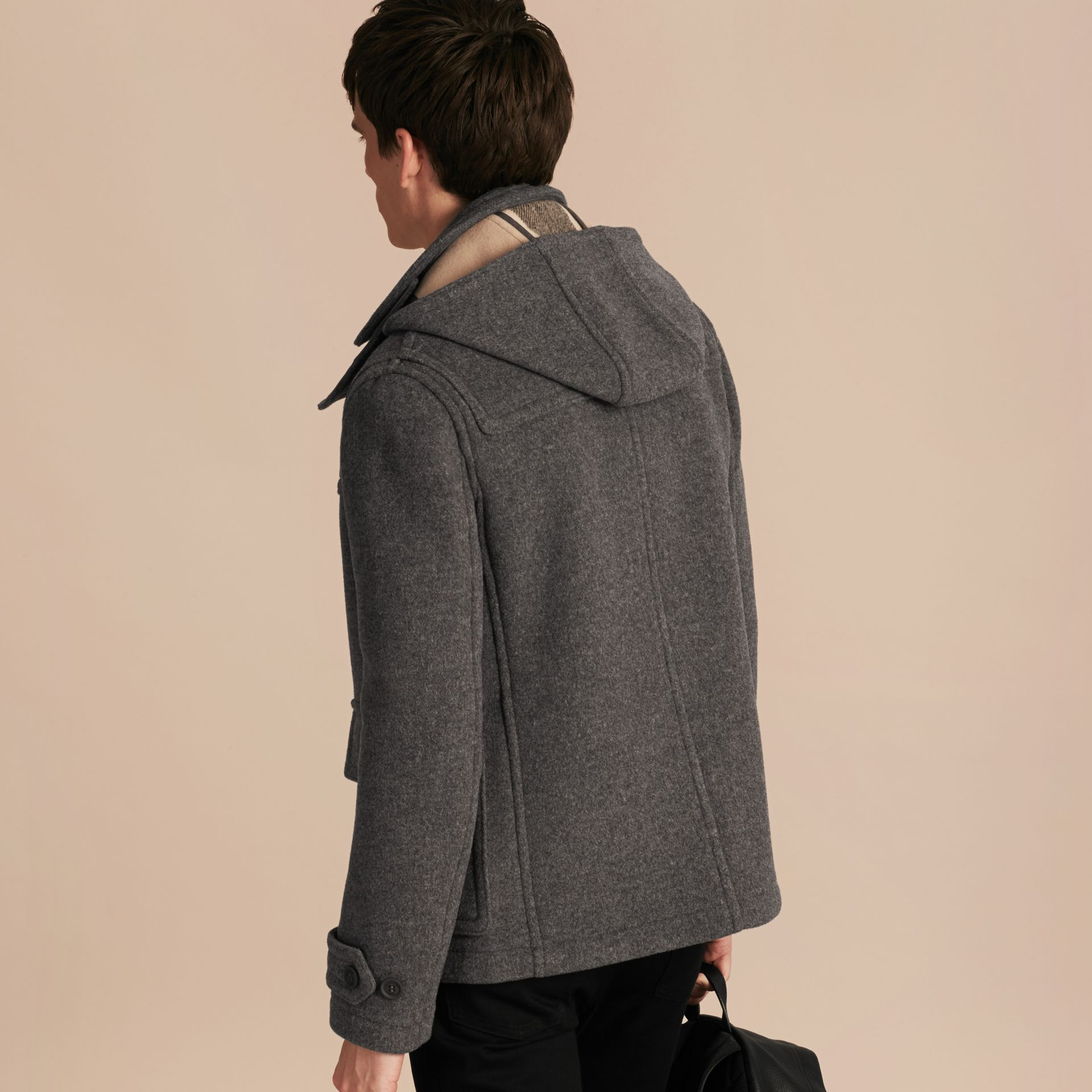 Mid grey melange Wool Detachable Hood Duffle Jacket - gallery image 3