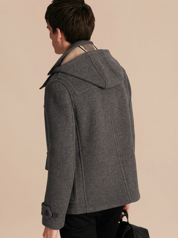 Mid grey melange Wool Detachable Hood Duffle Jacket - cell image 2