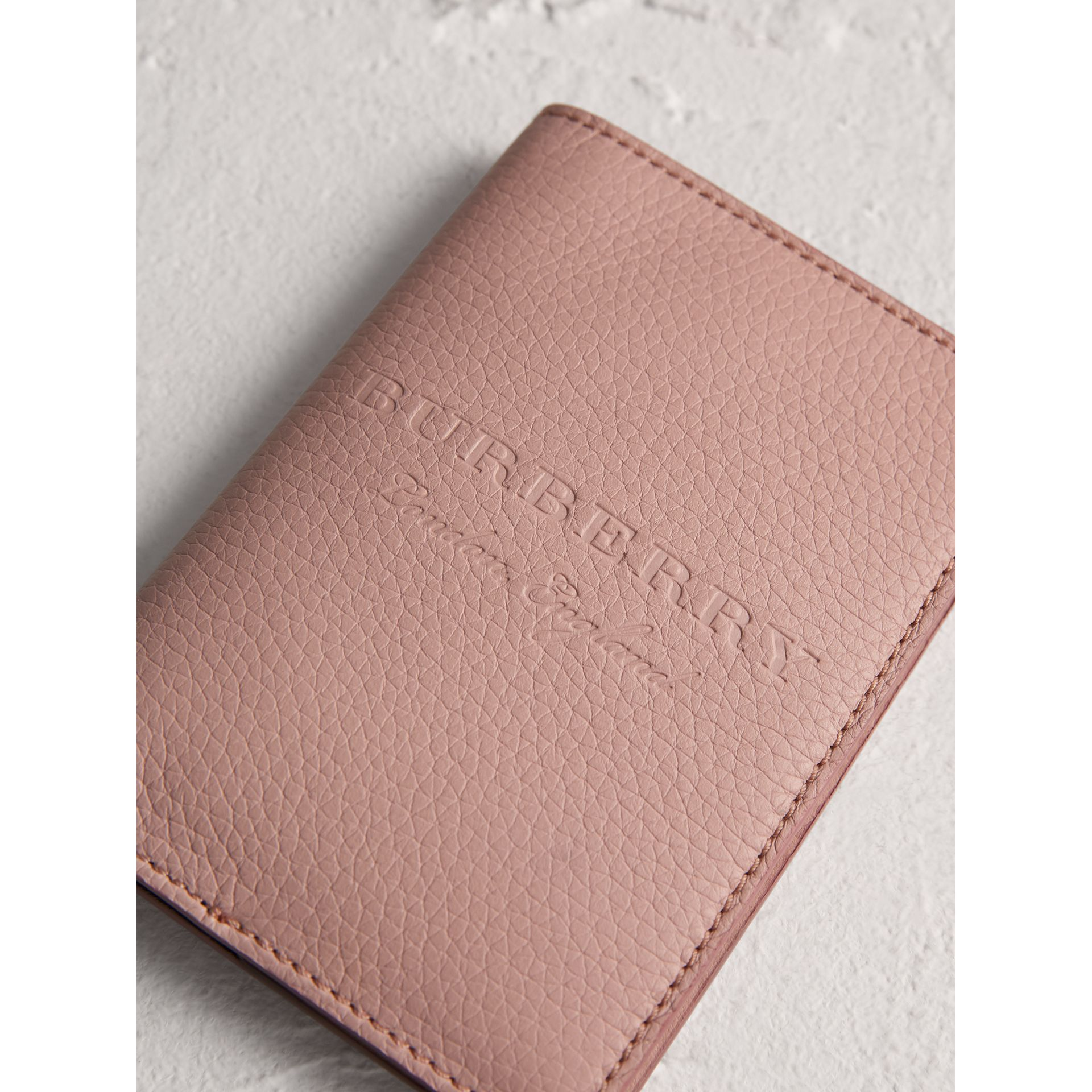Embossed Leather Passport Holder in Pale Ash Rose | Burberry United Kingdom - gallery image 1