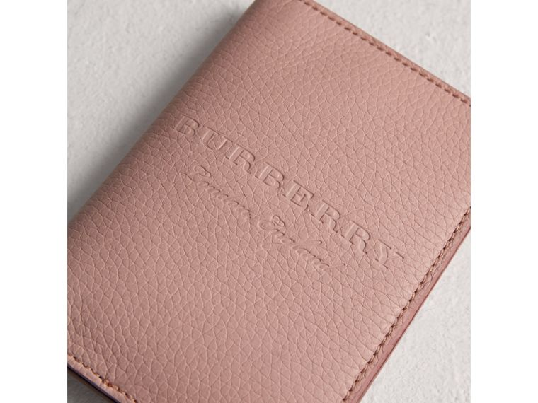 Embossed Leather Passport Holder in Pale Ash Rose | Burberry - cell image 1