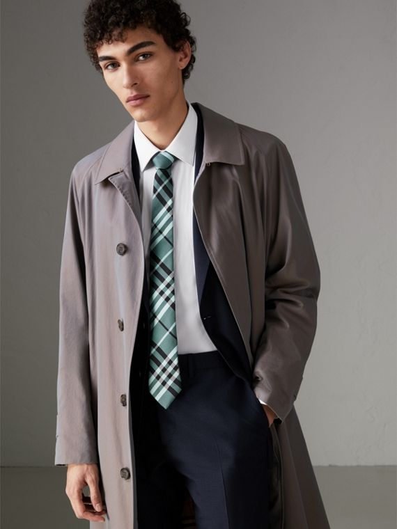 Modern Cut Check Silk Tie in Pale Turquoise - Men | Burberry United Kingdom - cell image 2