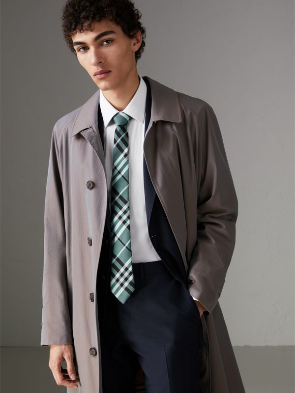 Modern Cut Check Silk Tie in Pale Turquoise - Men | Burberry - cell image 2