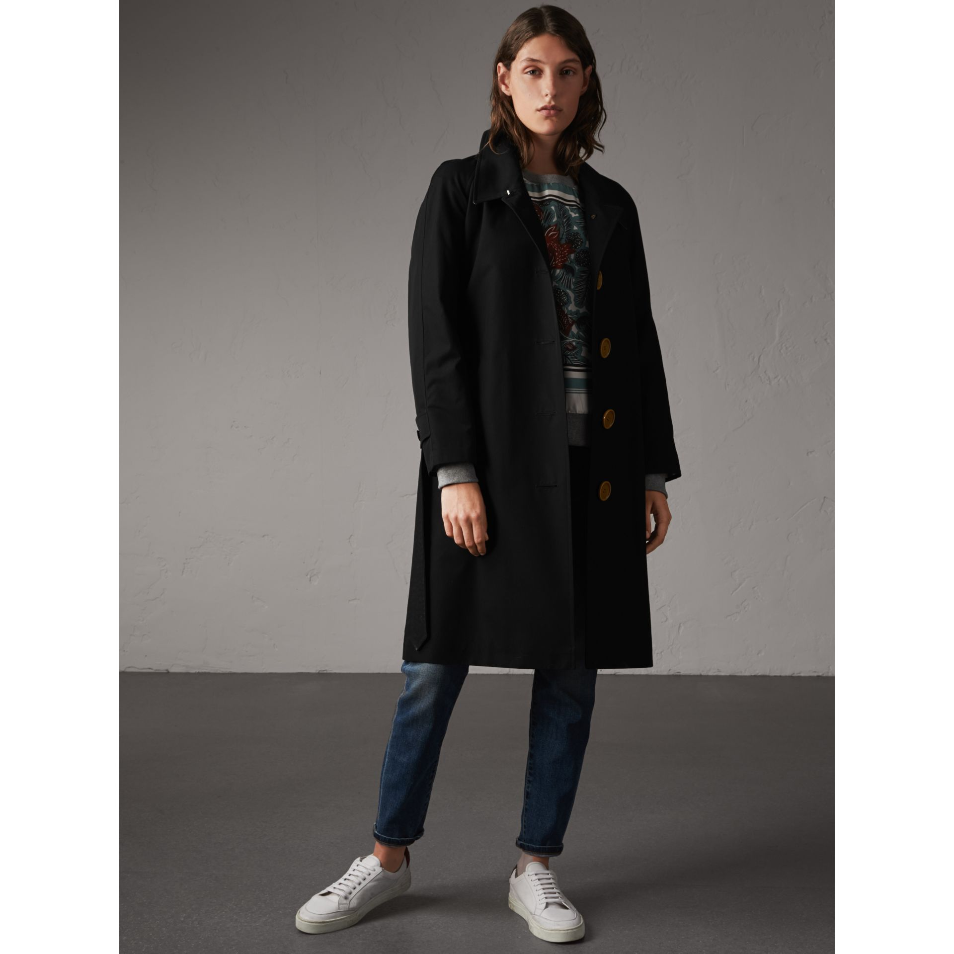 Resin Button Cotton Gabardine Trench Coat in Black - gallery image 1