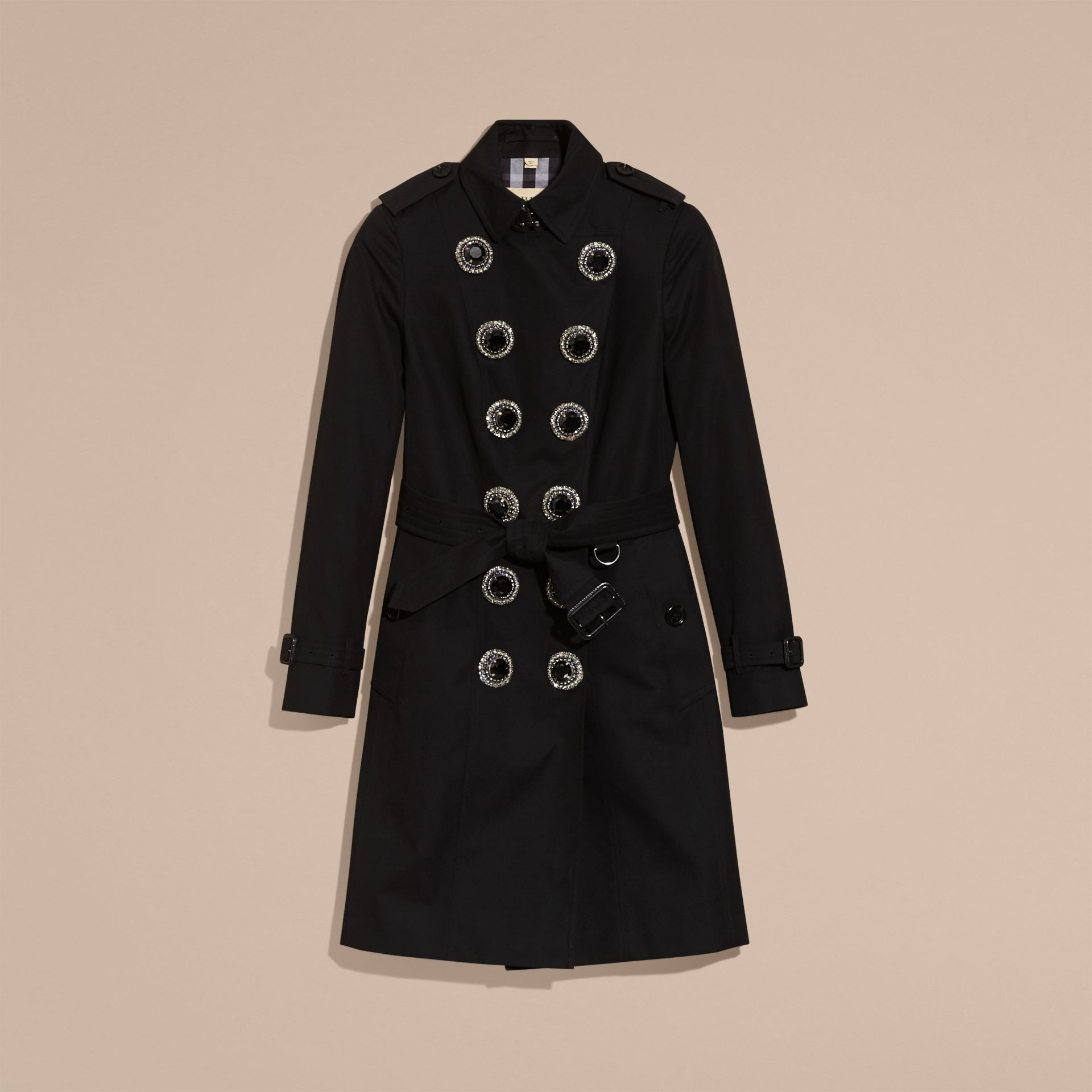 Black Cotton Gabardine Trench Coat with Embellished Fastening - gallery image 4