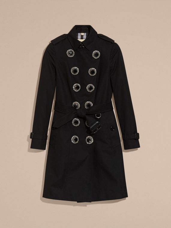 Black Cotton Gabardine Trench Coat with Embellished Fastening - cell image 3