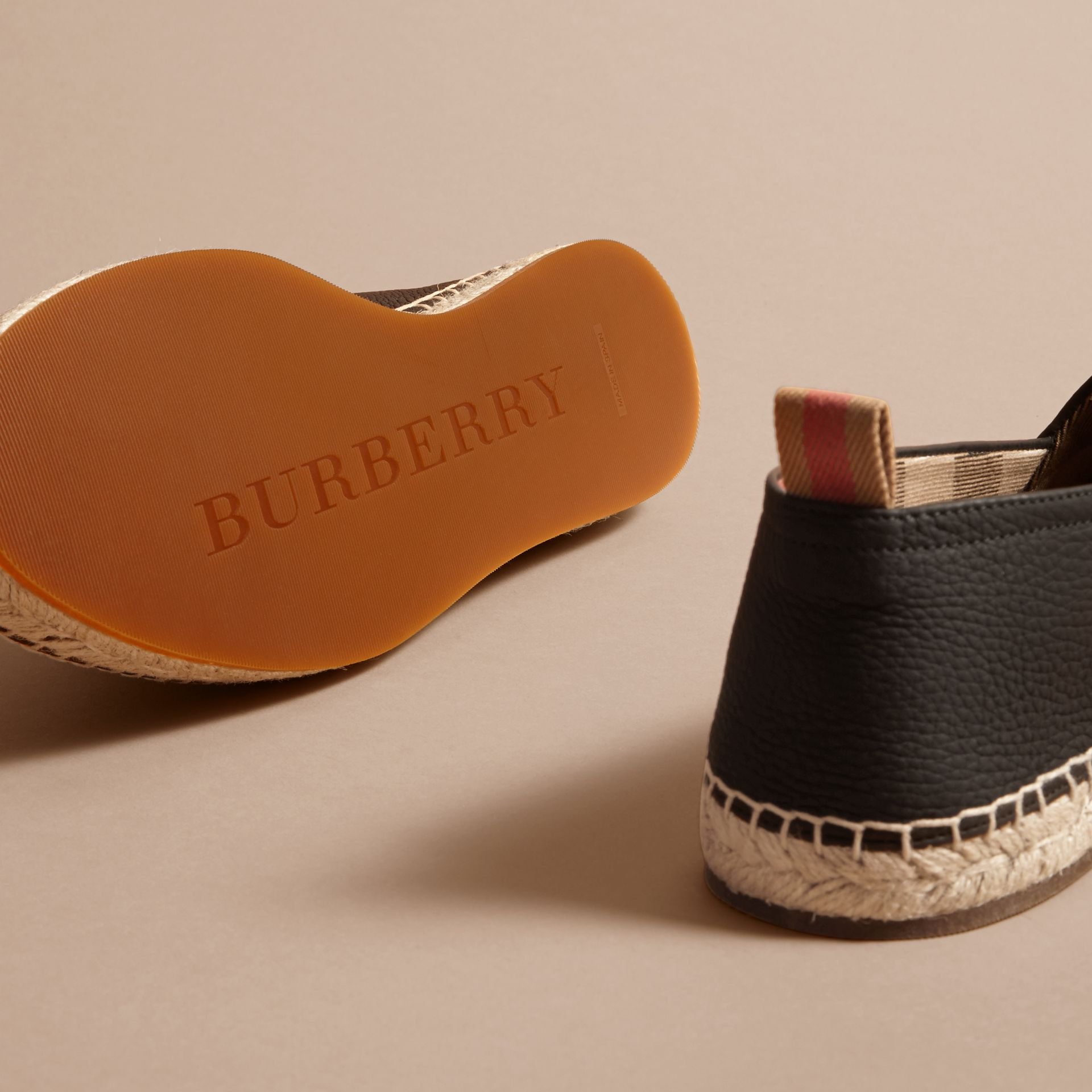 Check Detail Leather Espadrilles Black - gallery image 5
