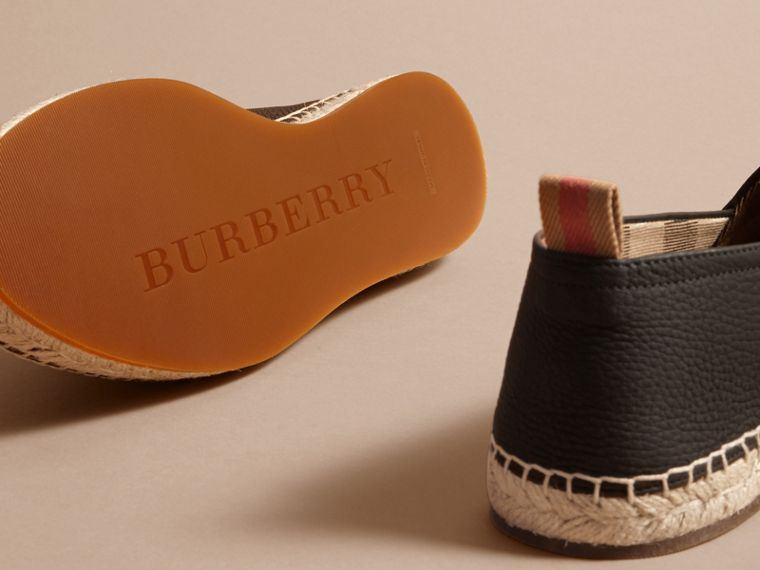 Check Detail Leather Espadrilles Black - cell image 4