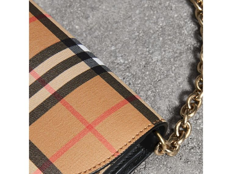 Vintage Check and Leather Wallet with Chain in Black - Women | Burberry - cell image 1