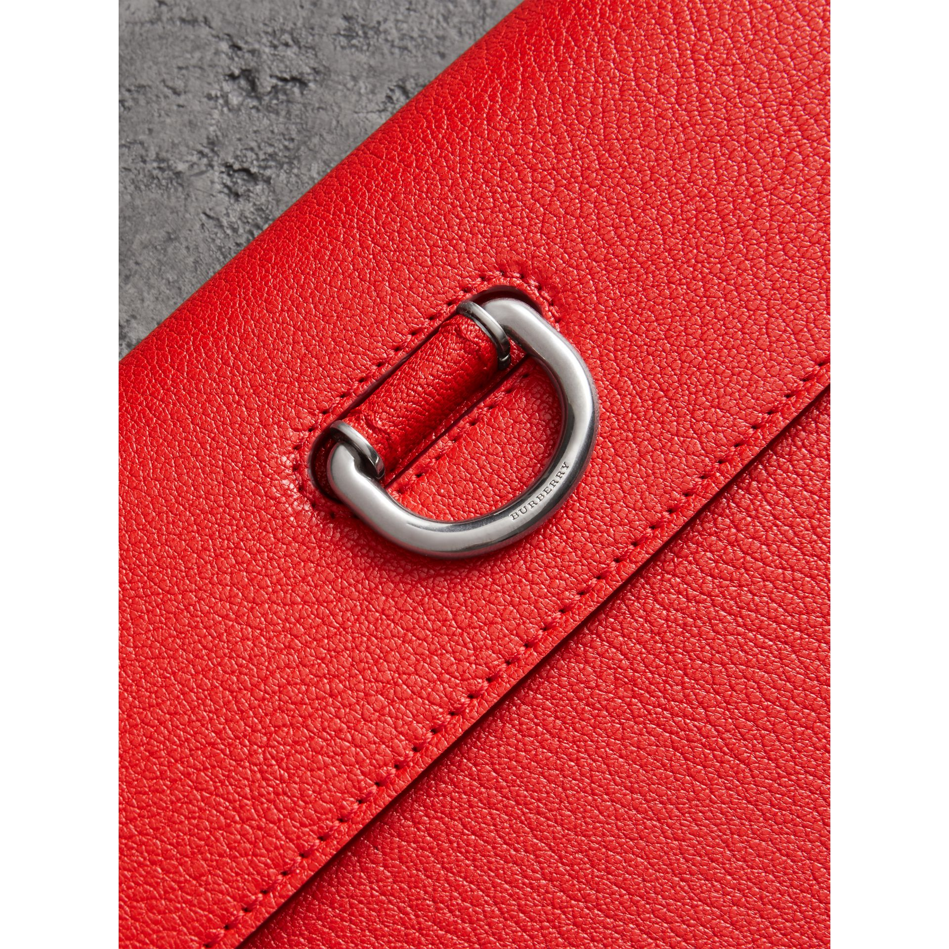 D-ring Leather Pouch with Zip Coin Case in Bright Red - Women | Burberry - gallery image 1