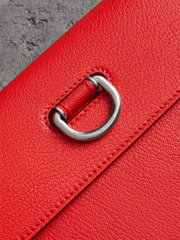 D-ring Leather Pouch with Zip Coin Case in Bright Red - Women | Burberry Australia - cell image 1