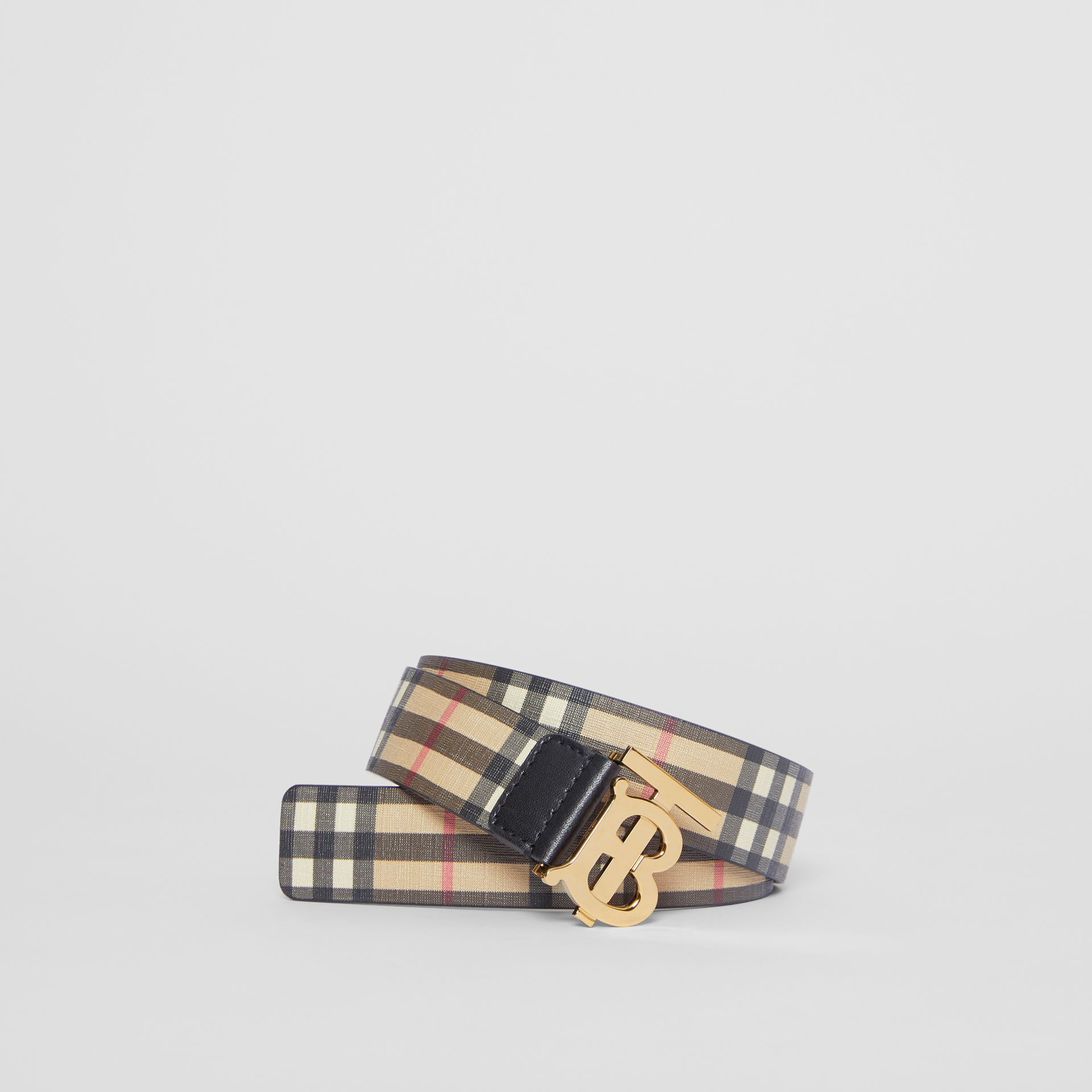Monogram Motif Vintage Check E-canvas Belt in Archive Beige - Women | Burberry - gallery image 0