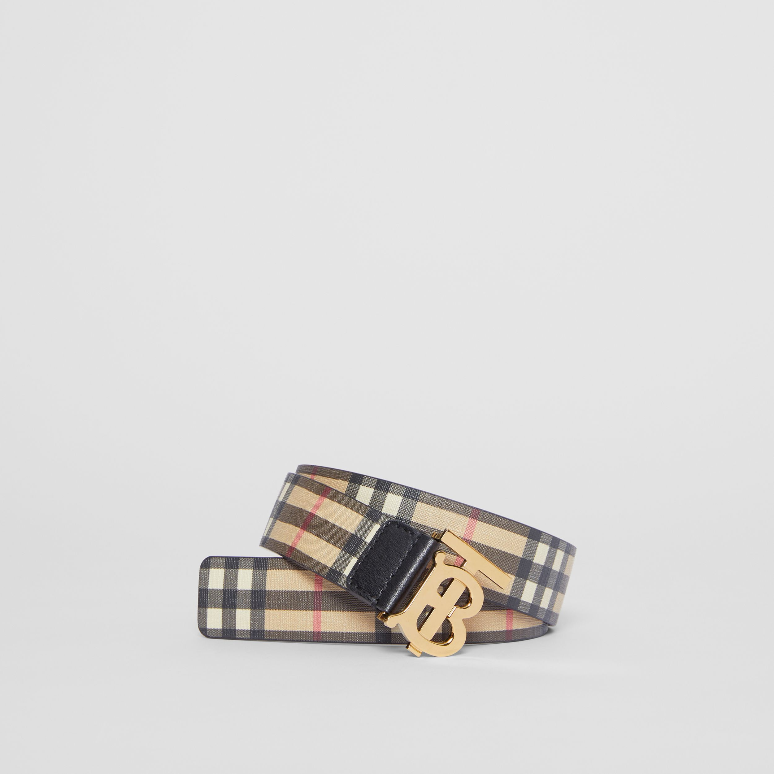 Monogram Motif Vintage Check E-canvas Belt in Archive Beige - Women | Burberry United States - 1