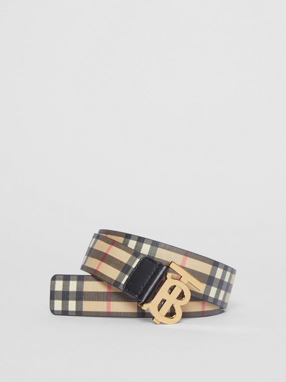 Monogram Motif Vintage Check E-canvas Belt in Archive Beige