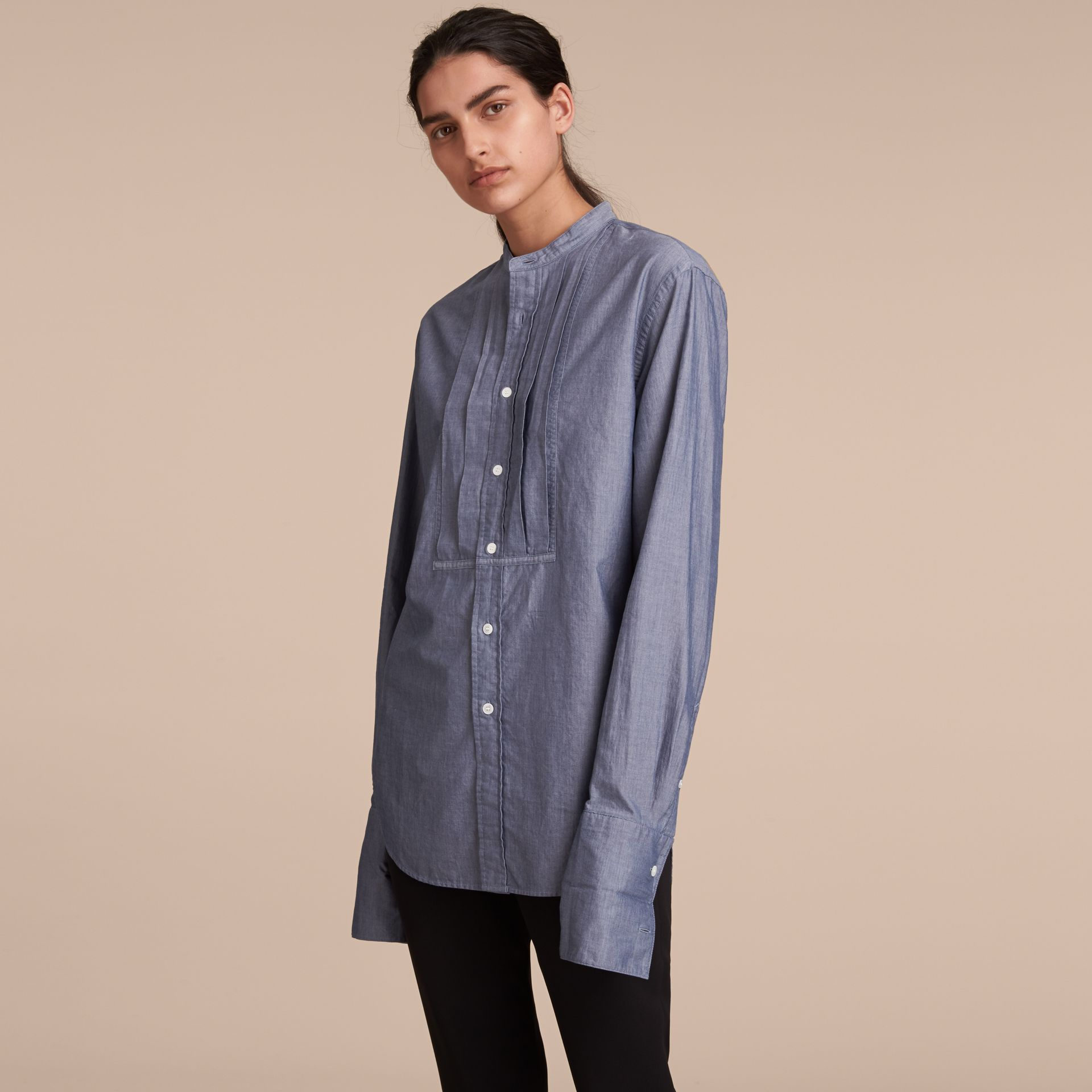 Unisex Grandad Collar Pleated Bib Cotton Shirt - Women | Burberry - gallery image 6
