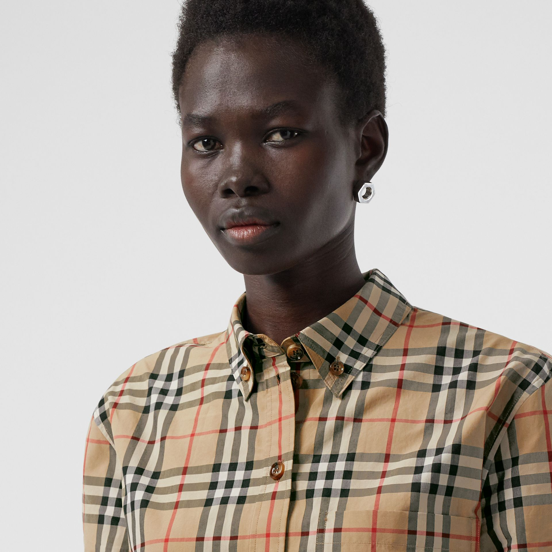 Button-down Collar Vintage Check Cotton Shirt in Archive Beige - Women | Burberry - gallery image 1