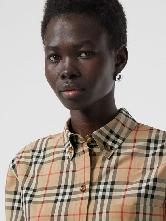 Button-down Collar Vintage Check Cotton Shirt in Archive Beige - Women | Burberry - cell image 1