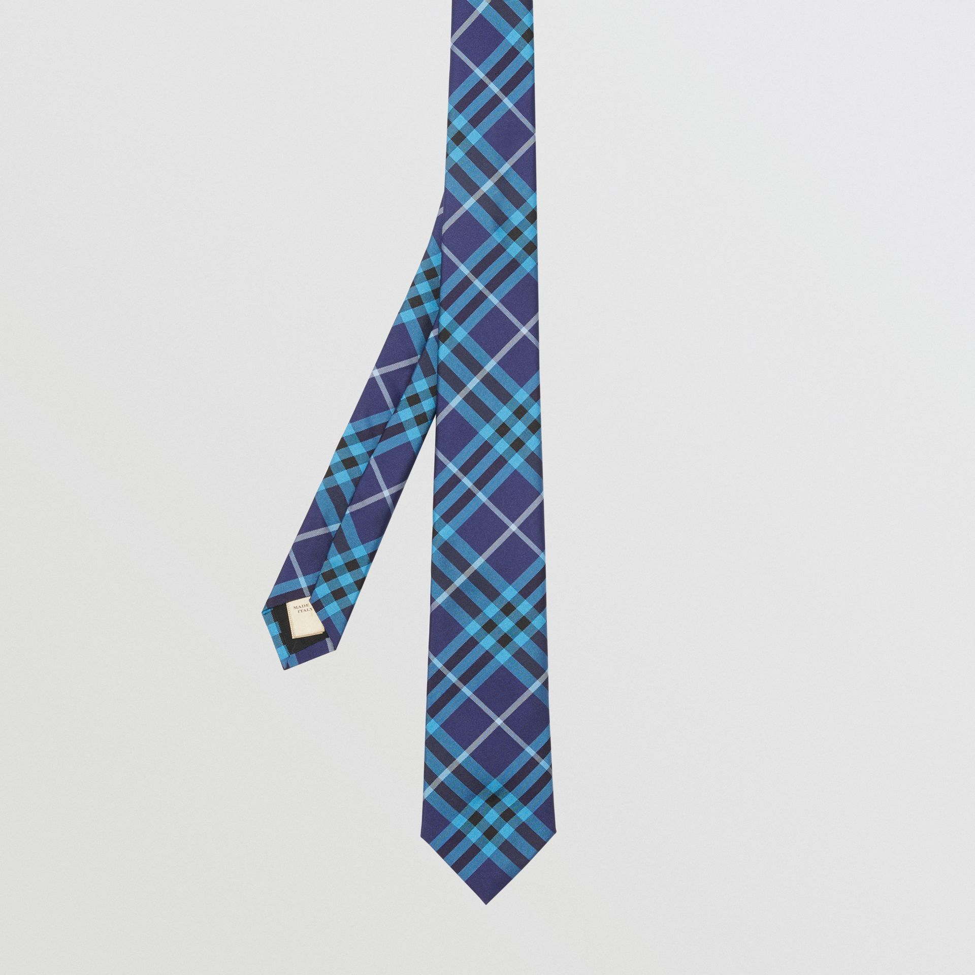Slim Cut Check Silk Tie in Bright Navy - Men | Burberry - gallery image 2