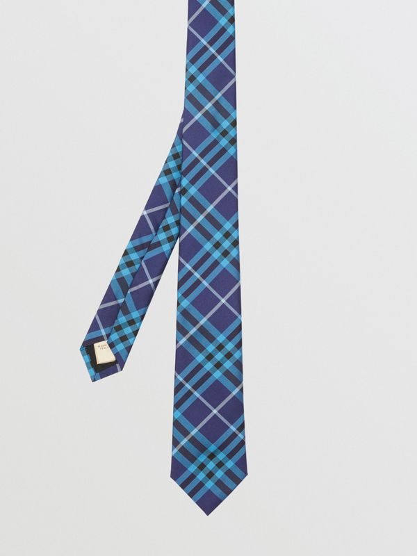 Slim Cut Check Silk Tie in Bright Navy - Men | Burberry - cell image 2