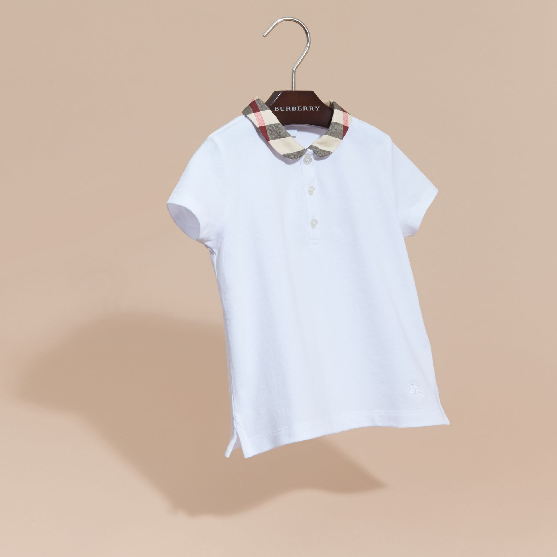 Check Collar Polo Shirt in White - Girl | Burberry - gallery image 3