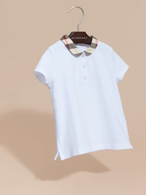 White Check Collar Polo Shirt - cell image 2