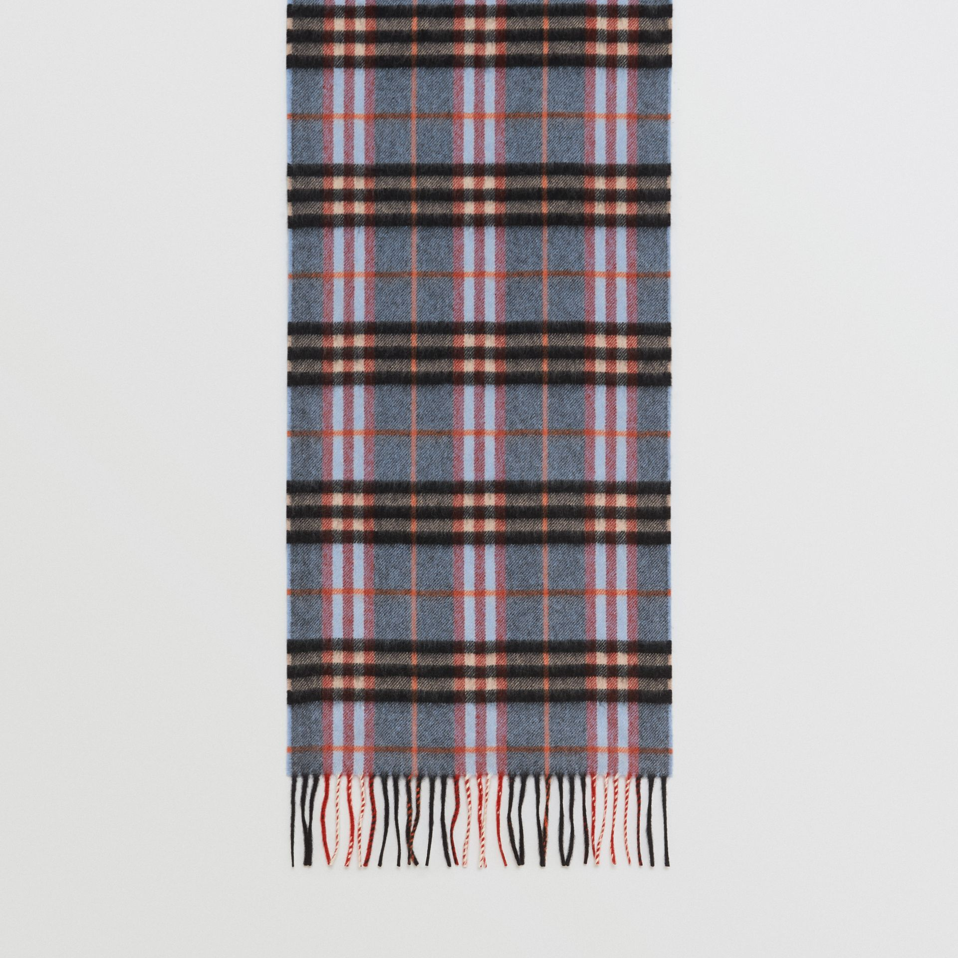 Check Cashmere Scarf in Pale Carbon Blue | Burberry - gallery image 4