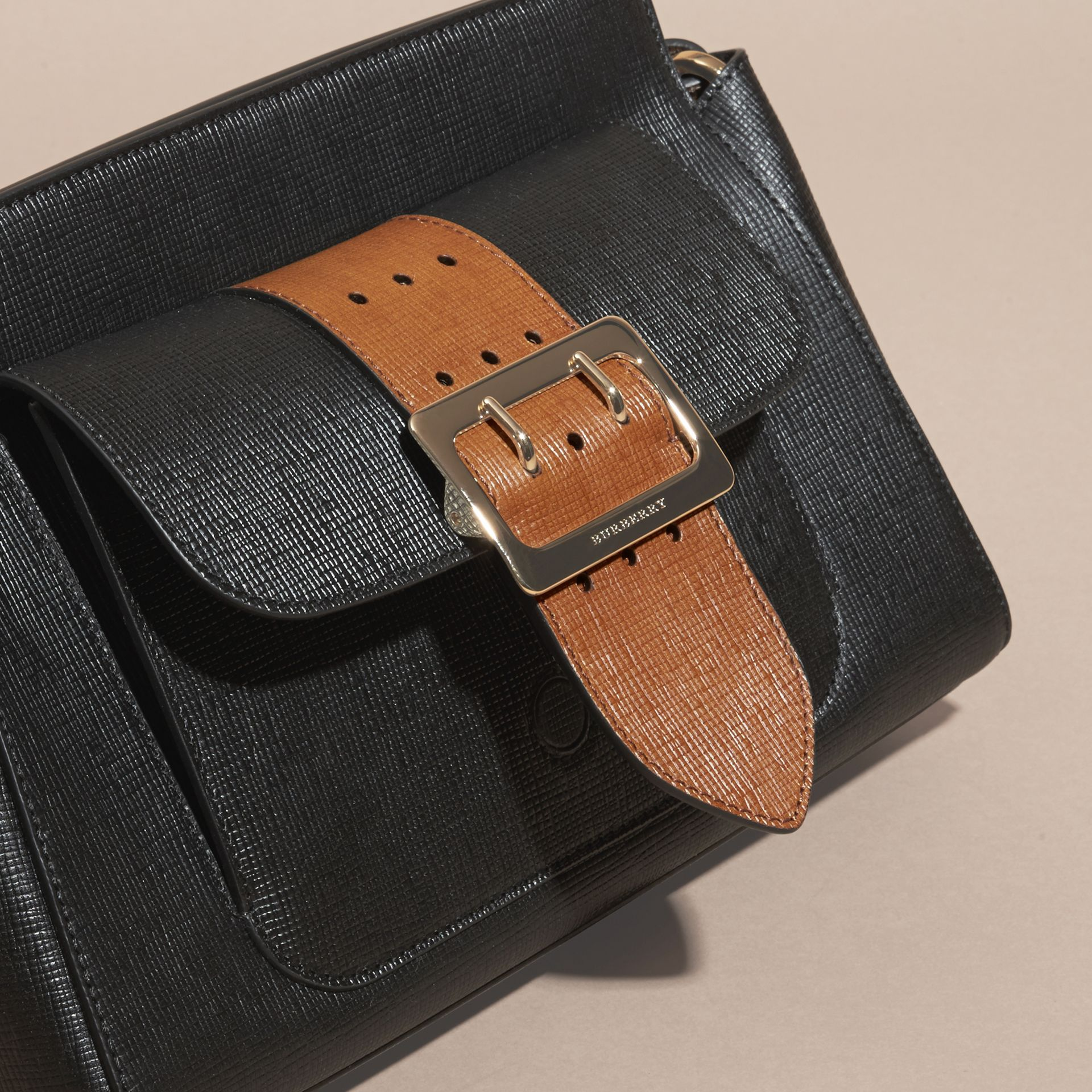 Black The Saddle Clutch in Textured Bonded Leather - gallery image 8