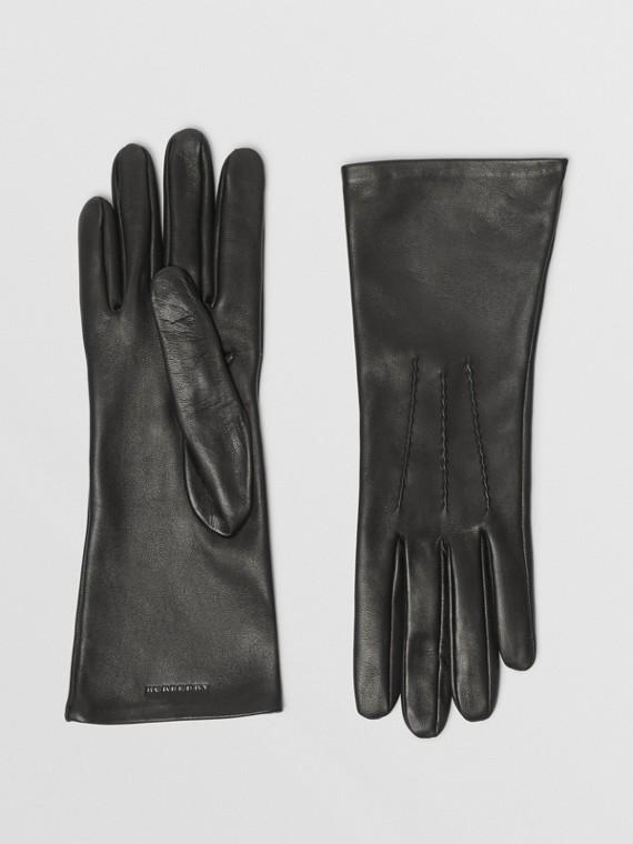 Handschuhe aus Lammleder mit Seidenfutter (Schwarz)