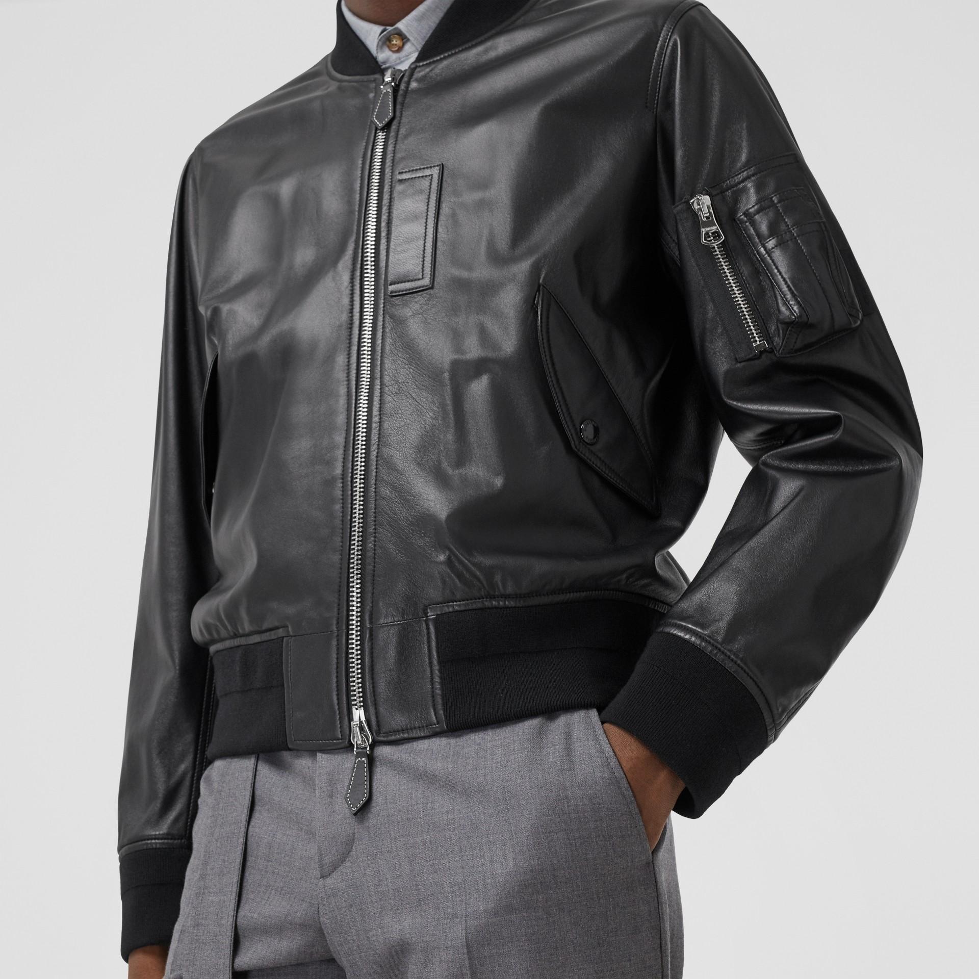 Lambskin Bomber Jacket in Black - Men | Burberry - gallery image 4