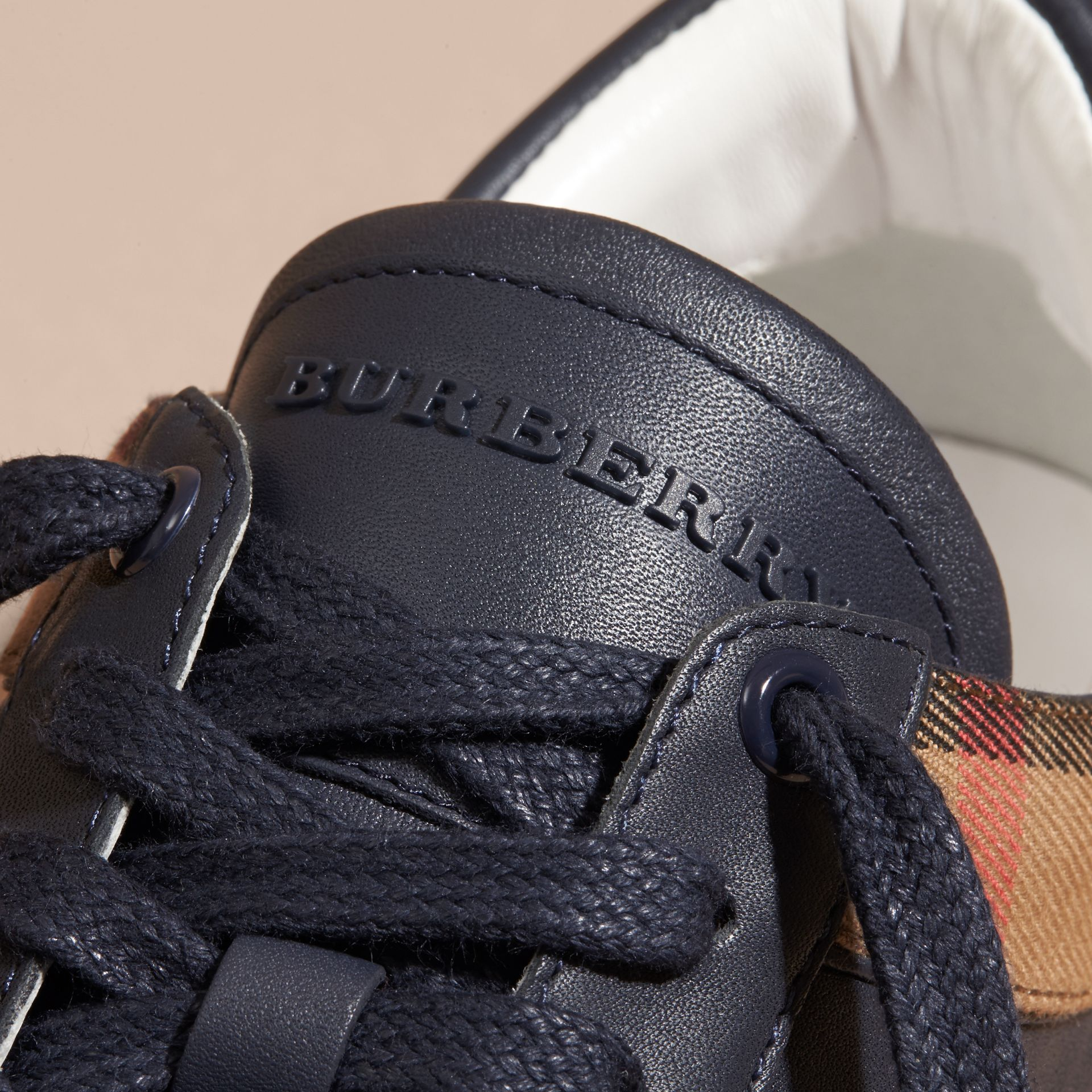 Leather and House Check Trainers in Check/true Navy - gallery image 2