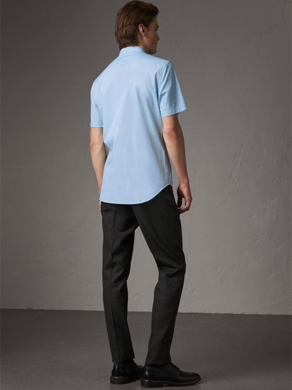 Short-sleeved Stretch Cotton Poplin Shirt in Pale Blue - Men | Burberry - cell image 2