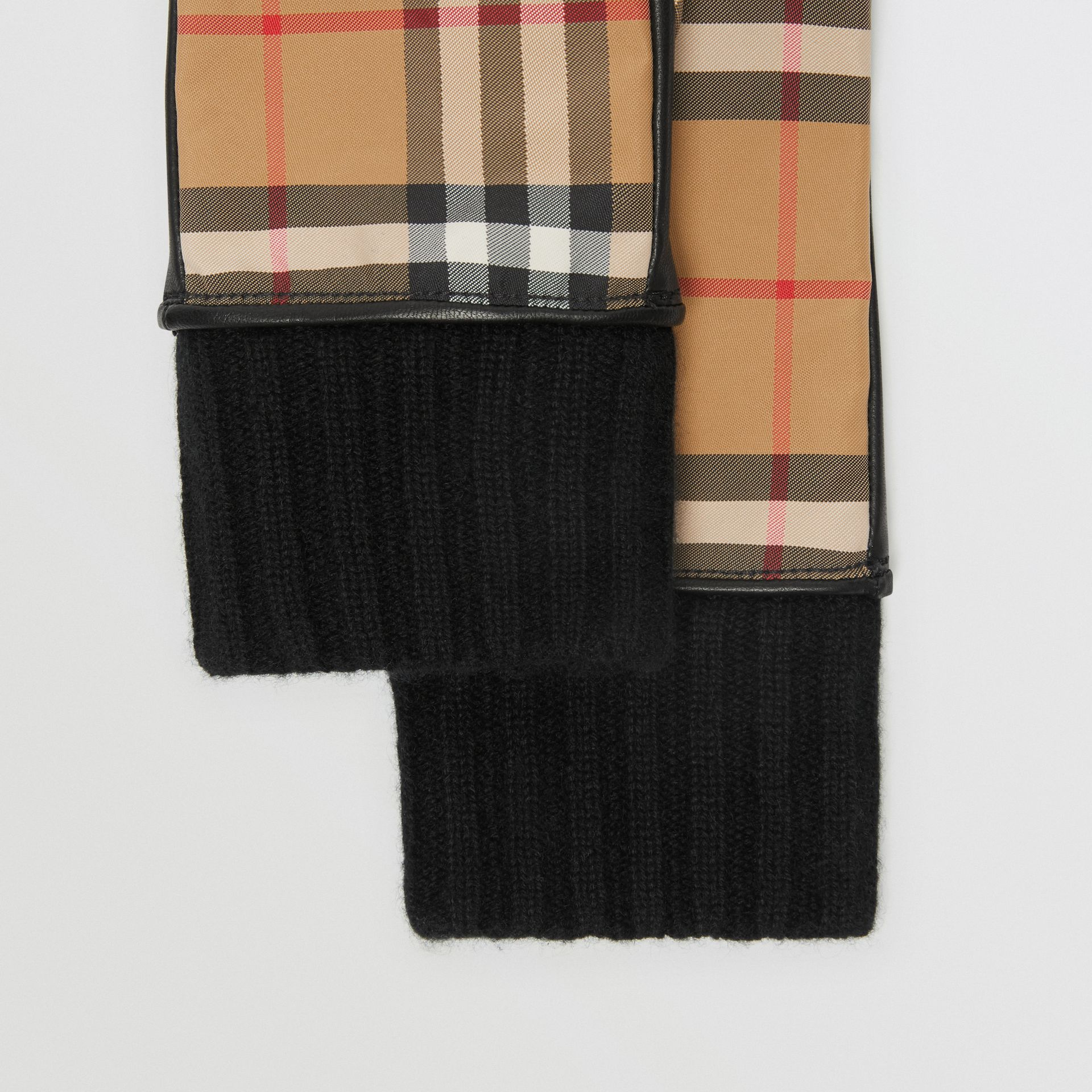 Cashmere-lined Vintage Check and Lambskin Gloves in Antique Yellow/black - Women | Burberry - gallery image 1