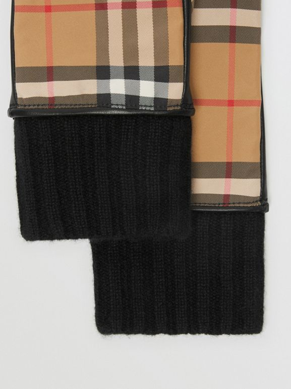 Cashmere-lined Vintage Check and Lambskin Gloves in Antique Yellow/black - Women | Burberry - cell image 1