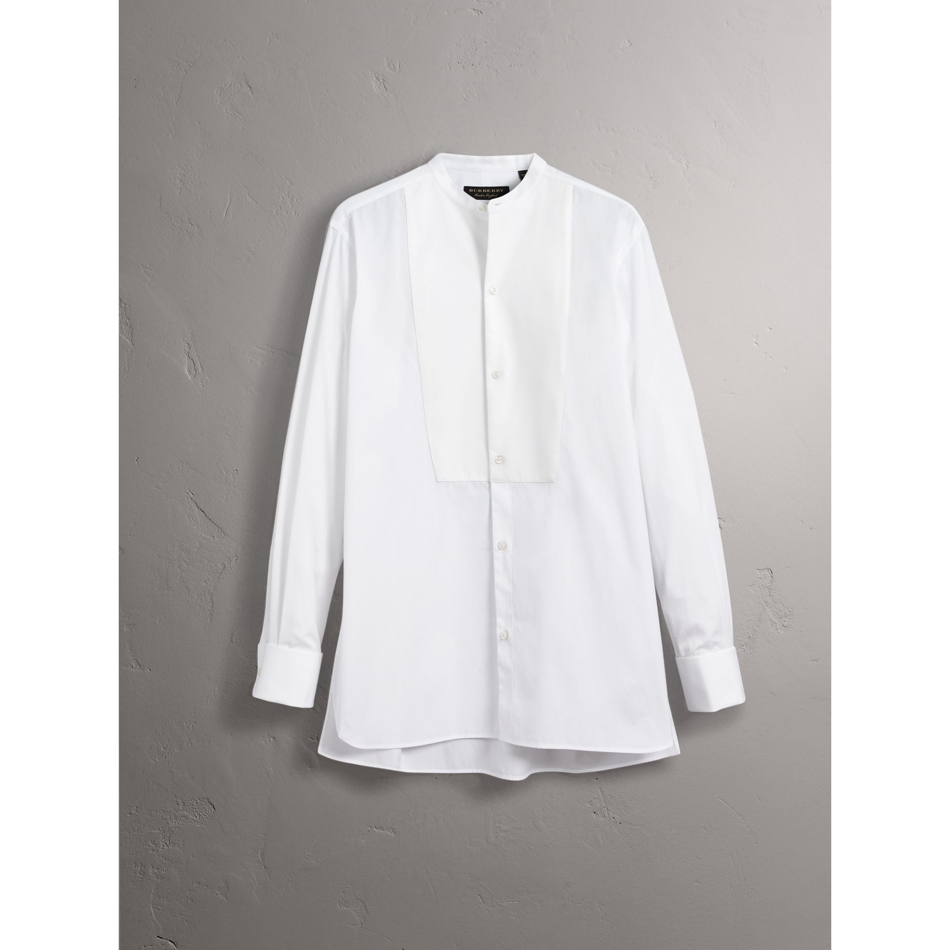 Grandad Collar Plastic Bib Cotton Shirt in White - Men | Burberry Singapore - gallery image 3