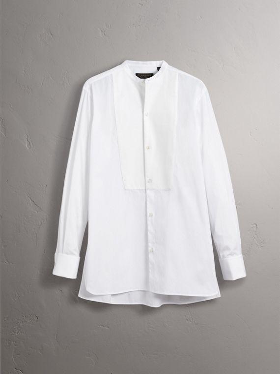 Grandad Collar Plastic Bib Cotton Shirt in White - Men | Burberry United Kingdom - cell image 3